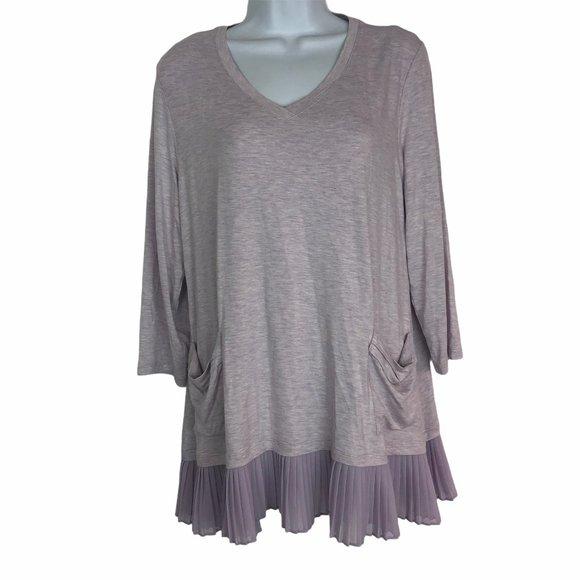 LOGO Lori Goldstein Mauve Tunic Blouse Shirt Top